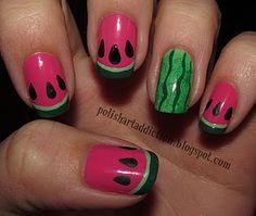 watermelon nails cute for summer!