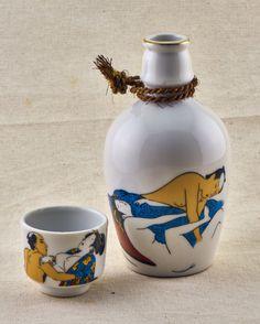 Lonely samurai set (Japanese erotic art vintage sake bottle and cup) by LuckyDarumaVintage on Etsy