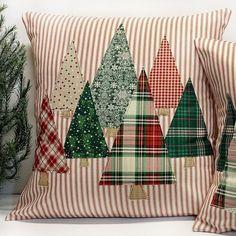 Christmas Tree Pillow Cover, Cabin Christmas Decor, Christmas Plaid, Farmhouse C. Christmas Sewing, Plaid Christmas, Christmas Holidays, Christmas Crafts, Winter Holiday, Etsy Christmas, Primitive Christmas, Christmas Trees, Cabin Christmas Decor