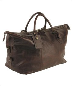Barbour Travel Bag Explorer Weekend Holdall in Dark Brown Leather UBA0008BR71 from Smyths Country Sports