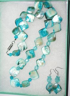 Handmade Beaded Necklace Set Chunky Aqua Mother by SCLadyDiJewelry