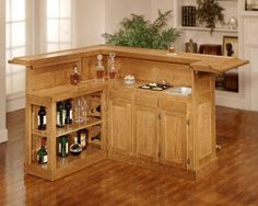 Simply Perfect Mini Bar Design In Wood Materials With Cabinetry And L Shape Design For Your Home Bar