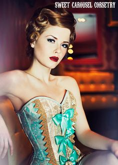 Blue and Gold Antoinette inspired sweetheart by sweetcarousel, $440.00