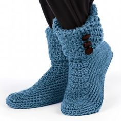 Mary Maxim - Crochet Buttoned Cuff Boots - Slippers - Fashion Accessories - Knit & Crochet