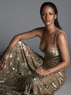 Rhianna- in gold dress