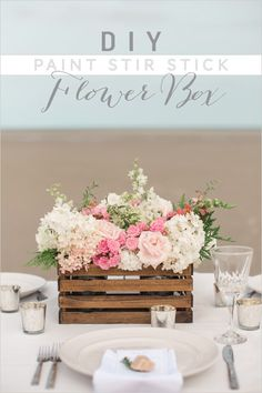 DIY Paint Stick Centerpiece Ideas | DIY Flower Box by DIY Ready at http://diyready.com/paint-stick-diy-projects/