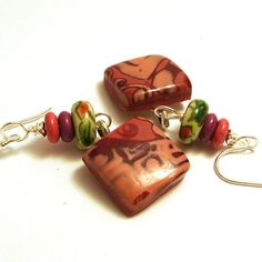 Pink Earrings Patterned Polymer Clay by averilpam on Etsy