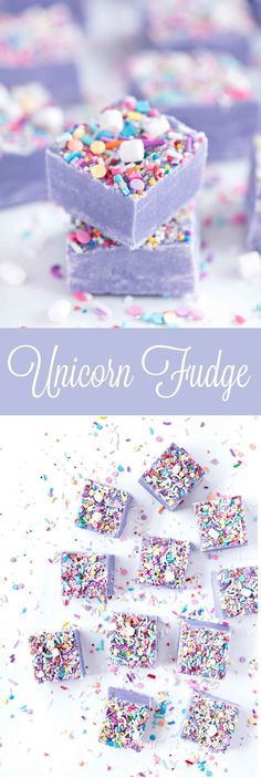 Unicorn Fudge - Make some bright and colorful white chocolate Unicorn Fudge that is guaranteed to brighten up anyone's day. If you haven't noticed, the Unicorn trend has taken the Instagram baking world by storm. Purple Desserts, Desserts Diy, Colorful Desserts, Colorful Drinks, Party Desserts, Sweet Desserts, Desserts For Picnics, Sweet Recipes, Cool Drinks