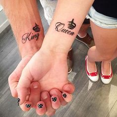 King & Queen Couple Tattoos by Sharya Shine Tattoos Para Casais, Hand Tattoos, Body Art Tattoos, Wrist Tattoo, Tattoo Ink, Trendy Tattoos, Unique Tattoos, Small Tattoos, Tattoos For Women