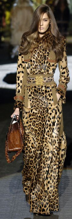 Roberto Cavalli leopard dress coat onesie, leopard is a neutral, runway fashion, couture Glamour Fashion, Look Fashion, Fashion Art, Runway Fashion, High Fashion, Womens Fashion, Chanel Fashion, Trendy Fashion, Leopard Fashion