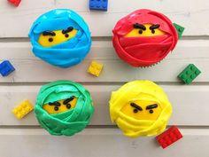 Semi-homemade, easy LEGO NINJAGO Movie Inspired Cupcakes from This Mama Loves