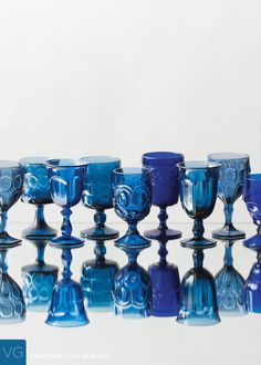 Vintage Colored | Dark Blue Goblets — Casa de Perrin