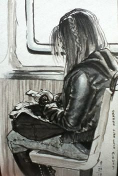 commuter with braid - sketchbook by teacher and artist Don Colley done with Faber-Castell PITT artist pens