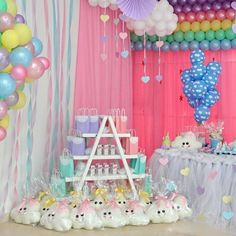 No automatic alt text available. Hello Kitty Birthday, Unicorn Birthday, Unicorn Party, Baby Birthday, Party Decoration, Balloon Decorations, Cloud Party, 9th Birthday Parties, Rainbow Parties