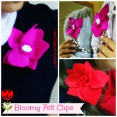 Hey Friends, You gotto check out these felt flower clips I made, they are so easy and can be used in lot of ways...visit the link www.letstrycreating.com to view full post. Take care!