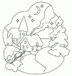Landscape coloring pages for christmas