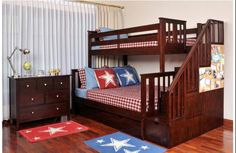 Brown Kids Bedroom Idea With Wooden Bunk Bed Along With Red And Blue Rug And Wooden Dresser And White Wall Paint Color