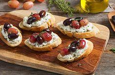 Roasted Olive & Grape Crostini Recipe | Mezzetta.com | Don't Forgetta Mezzetta