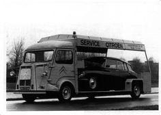 specialcar: Citroen H Van and Citroen DS Take your car with you. Citroen Ds, Citroen Type H, Psa Peugeot Citroen, Classic Trucks, Classic Cars, French Classic, Automobile, Citroen Traction, Truck Design