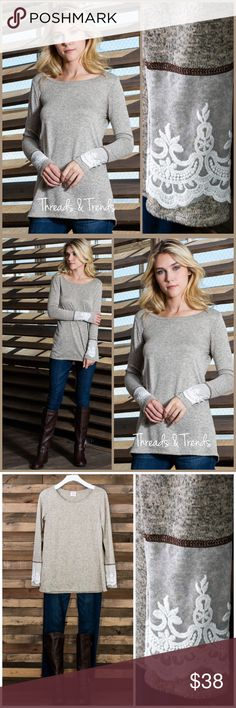 Lace Cuffed Top Heather grey lace cuffed detail top. Everyday anywhere wear. Where to work or for a casual weekend. Super comfortable cotton/Raton & spandex blend. Size S, M, L, XL Threads & Trends Tops