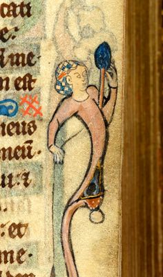 Psalter, MS M.79 fol. 10r - woman, wearing snood, with left hand holding distaff and with right hand holding thread