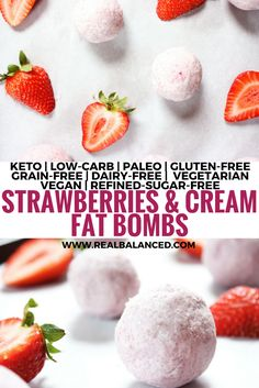 strawberries-and-cream-fat-bombs. Soaked cashews, coconut oil, coconut butter, frozen strawberries, stevia