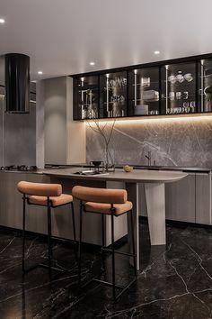 Kitchen Room Design, Home Room Design, Modern Kitchen Design, Interior Design Kitchen, Modern Interior, Kitchen Decor, House Design, Luxury Kitchens, Home Kitchens