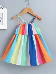 To find out about the Toddler Girls Rainbow Stripe Cami Dress at SHEIN, part of our latest Toddler Girl Dresses ready to shop online today! Baby Girl Dress Patterns, Toddler Girl Outfits, Toddler Girl Dresses, Little Girl Dresses, Kids Outfits, Girls Dresses, Toddler Girls, Trendy Toddler Girl Clothes, Kids Frocks Design