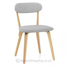 Chase Oak Dining Chair Light Grey Fabric - Atlantic Shopping