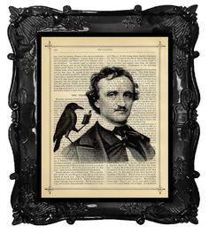 CROW RAVEN reading to Poe - Edgar Allan Poe Art Print on antique book Page Crow Raven Art Print on Etsy, $10.00