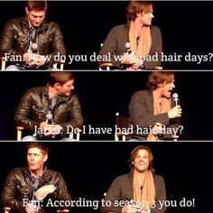 It burns! Jensen's reaction is gold. I honestly think Jensen is far more insulted than Jared, haha