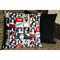 Wonder Woman Justice League Cushion Cover ($16) ❤ liked on Polyvore featuring home, home decor, throw pillows, patterned throw pillows, black throw pillows, black toss pillows, black home decor and black accent pillows
