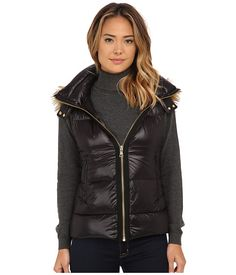 Vince Camuto Light Weight Down Vest with Faux Fur Trim Hood J1741