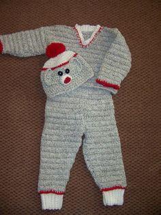 Sock Monkey Baby Sweater Pants and Hat Set by nancysneedlesandpens, $125.00