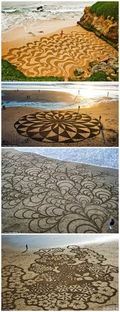 "ARTISTS | ""Playa Drawings"" by Andres Amador. Creative art instalation to inspire your days. Click on the photo for more creative designs or www.bocadolobo.com 