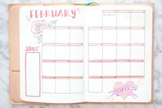 Miss Louie February Bullet Journal Monthly and Weekly Spread 2018  BUJO inspiration layout ideas