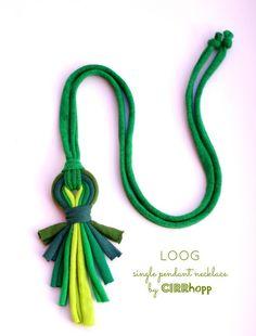 LOOG - X - medálos textilnyaklánc zöld S/S2015, Ékszer, óra, Nyaklánc, Meska