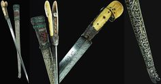"Ottoman (Balkan) yatagan handled dagger 18th century, with European made triangular etched blade, the scabbard is made of wood with low grade silver mounts decorated with 98 gems, the yatagan shaped grip is of bone with silver rib decorated with large corals. Overall length is 21"", blade length is 15""."