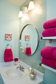home accents bathroom aqua blue tile backsplash round mirror kids bathroom vanity Austin TX Room Fu Girl Bathrooms, Bathroom Kids, Small Bathroom, Master Bathroom, Mirror Bathroom, Master Baths, White Bathroom, Hot Pink Bathrooms, Aqua Bathroom Decor