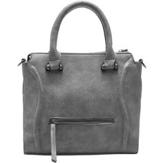 Grey Classic Zipper PU Tote Bag (115 VEF) ❤ liked on Polyvore featuring bags, handbags y tote bags