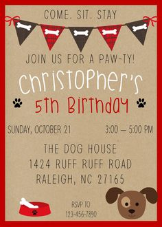 This Puppy Birthday Invitation or Puppy Party Invitation would be perfect for your puppy party!   Get yours now! Available in girl puppy too!  Puppy Party, Puppy Birthday Invitation, Puppy Party Invitation, Dog Birthday Theme, Puppy Themed Party