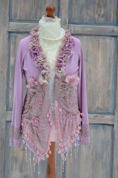 #upcycled #boho #fashion #recycled #women #bomeniun #romantic #clouting Shabby Pink Sweater M L womens altered clothing by MyEspresso