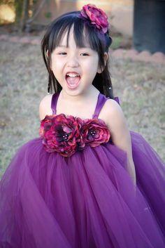 Plum Tutu with Peony Flowers Girls Dress