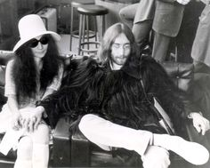 Iconic brides without the white gown: Yoko Ono     Having failed to get married in Paris a few days earlier, John Lennon and Yoko Ono chartered an aeroplane to Gibraltar. Looking like a couple on a mission Yoko wears a textured mini-dress, knee socks and white felt hat