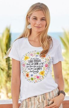 Share your positive vibe wearing our pretty, flowered 'Good Thoughts' tee.