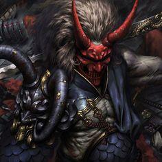 Samurai by Carter adair on ArtStation. Ninja Kunst, Arte Ninja, Ninja Art, Fantasy Concept Art, Dark Fantasy Art, Dark Art, Oni Samurai, Samurai Tattoo, Oni Demon