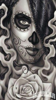 . La Muerte Tattoo, Catrina Tattoo, Sugar Skull Mädchen, Sugar Skull Tattoos, Skull Candy Tattoo, Sugar Tattoo, Sugar Skull Design, Tattoo Girls, Girl Tattoos