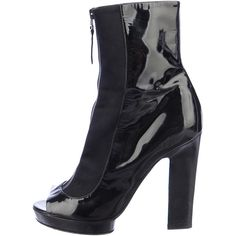 Pre-owned Sergio Rossi Open-Toe Booties ($130) ❤ liked on Polyvore featuring shoes, boots, ankle booties, black, black ankle booties, black open toe boots, stacked heel boots, black patent leather boots and sergio rossi