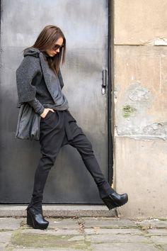 Charcoal Drop Crotch Pants / Extravagant Dark Grey Trousers