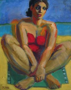 Time To Go, woman at beach, figuratvie painting, acrylic, figure painter, painting by artist Marie Fox